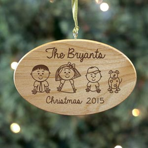 Engraved Stick Figure Wooden Ornament