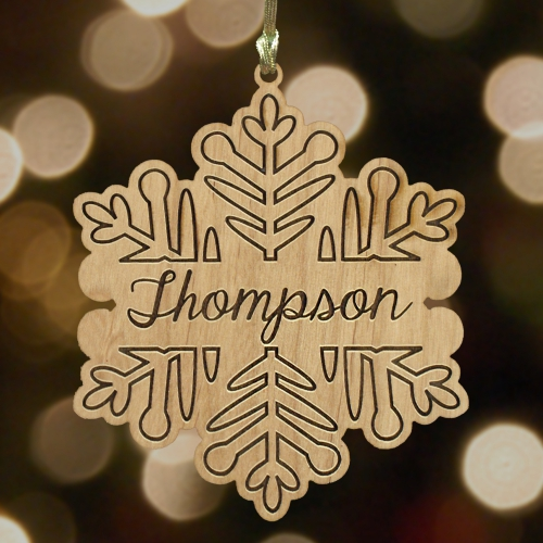 Engraved Snowflake Wooden Ornament | Personalized Ornament