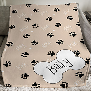 Personalized Dog Bone Throw | Personalized Blankets