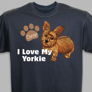 Personalized I Love My Yorkie T-Shirt