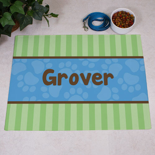 Personalized Modern Stripes Dog Food Mat | Personalized Doormats