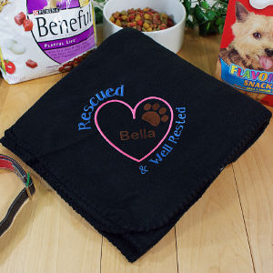 Embroidered Rescued and Well Rested Pet Blanket