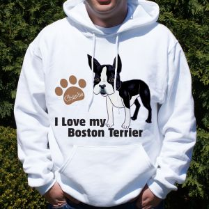Personalized I Love My Boston Terrier Hooded Sweatshirt