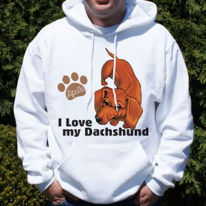 Personalized I Love My Dachshund Hooded Sweatshirt