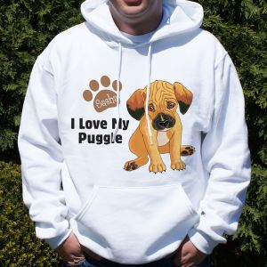 Personalized I Love My Puggle Hooded Sweatshirt