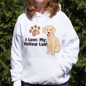 Personalized I Love My Yellow Lab Hooded Sweatshirt