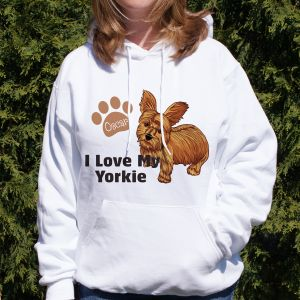 Personalized I Love My Yorkie Hooded Sweatshirt