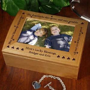 Shamrock Blessing Personalized Photo Keepsake Box