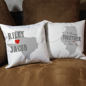 Personalized Couples Throw Pillow Set | Personalized Long Distance Valentine's Day Gifts