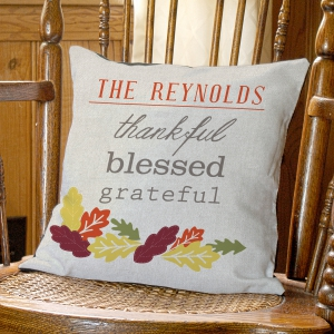 Personalized Thankful Throw Pillow