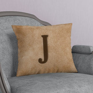 Initial Embroidered Camel Suede Pillow