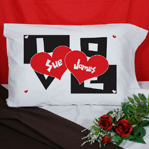 Two Hearts Personalized Pillowcase
