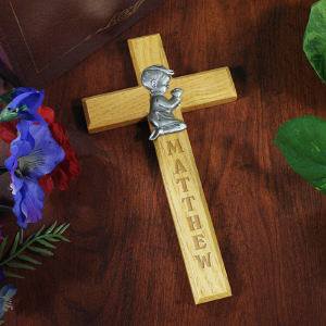 Praying Boy Personalized Cross
