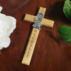 Praying Girl Personalized Wood Wall Cross