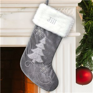 Embroidered Grey Velvet with Silver Beading Stocking | Personalized Christmas Stockings