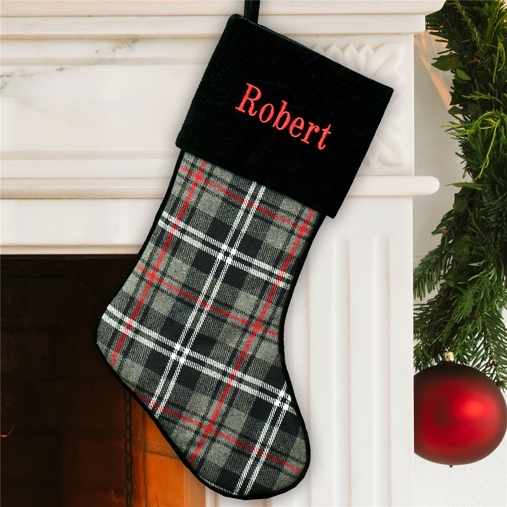 Embroidered Grey Plaid Stocking | Personalized Christmas Stockings