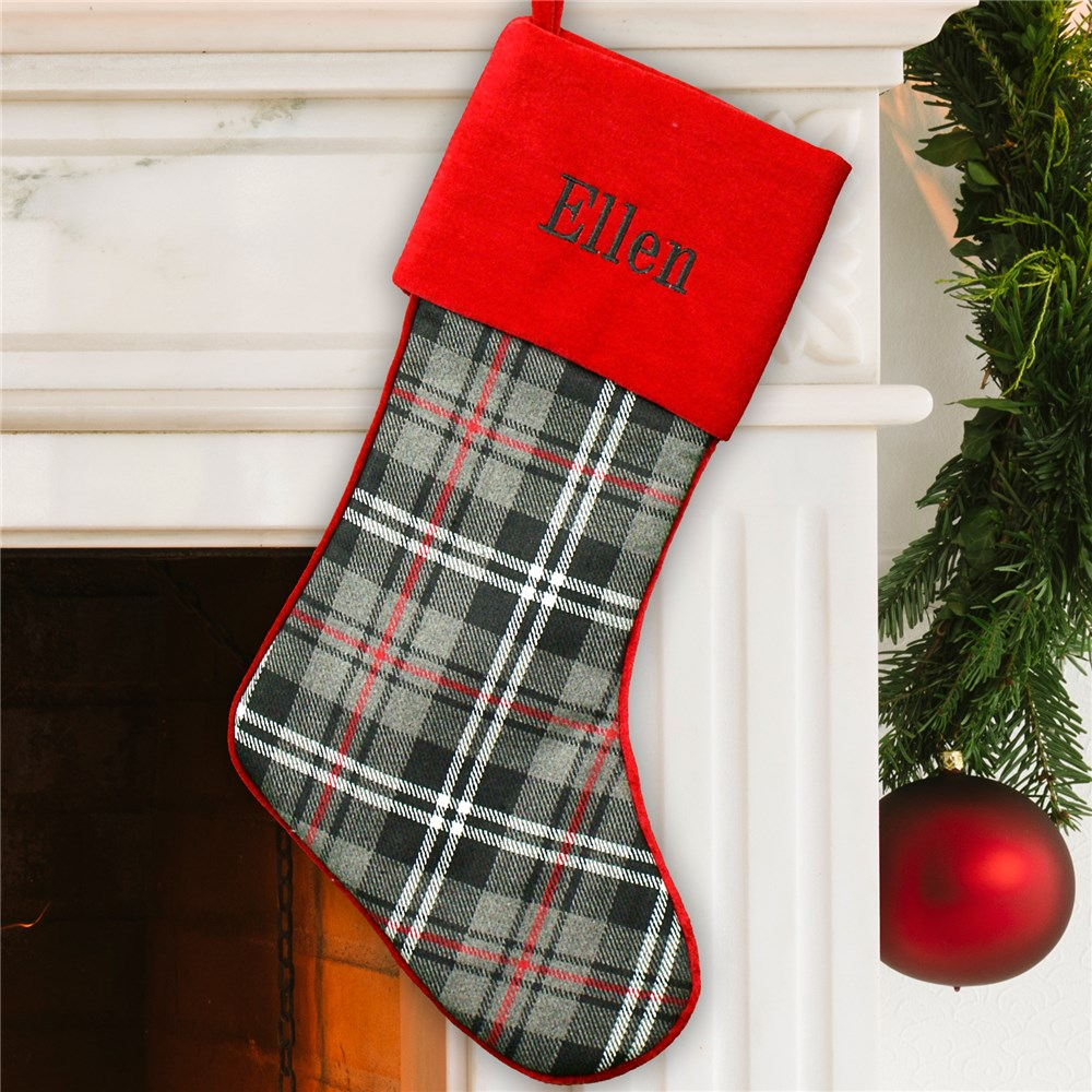 Embroidered Grey Plaid Stocking with Red Cuff | Customized Christmas Stockings