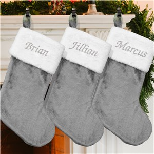 Embroidered Gray Plush Stocking S105709