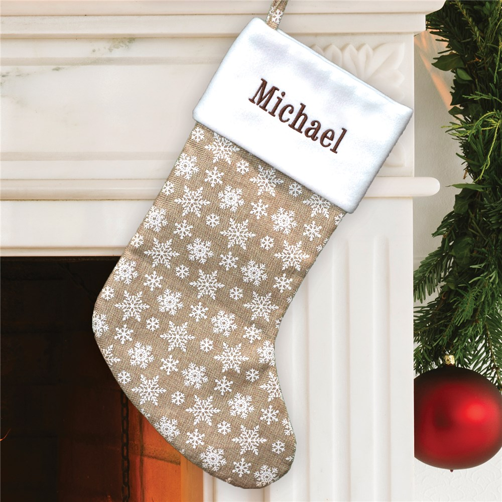 Embroidered Burlap White Snowflake Stocking | Personalized Stocking