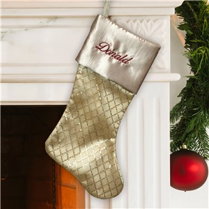 Embroidered Gold Sequined Diamond Stocking | Personalized Christmas Stockings