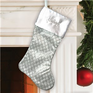 Embroidered White Sequined Diamond Stocking | Personalized Stocking