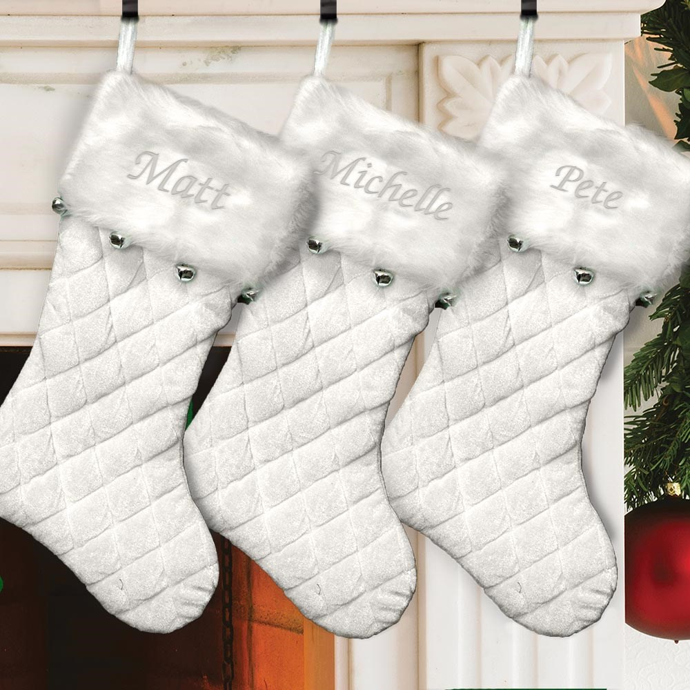 Embroidered Ivory Quilted Stocking with Bells | Personalized Christmas Stockings