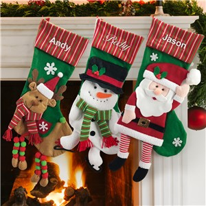 Stripe Character Christmas Stockings With Names Embroidered S1384211X
