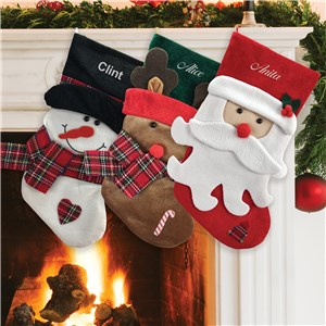 Personalized Plaid Scarf Christmas Stocking S13843X