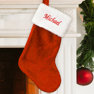 Red Plush Embroidered Christmas Stocking | Personalized Christmas Stockings