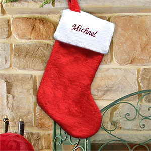 Red Plush Embroidered Christmas Stocking S34619