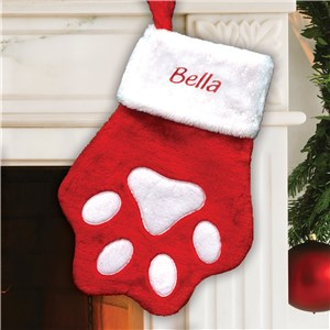 Embroidered Red Paw Christmas Stocking | Personalized Stocking