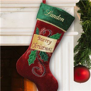 Embroidered Merry Christmas Stocking S49469