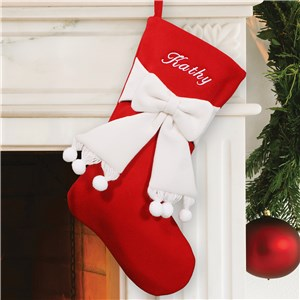 Embroidered Red and Ivory Bow Christmas Stocking | Personalized Christmas Stockings