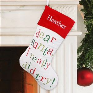Embroidered Dear Santa Christmas Stocking | Personalized Christmas Stockings