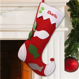 Embroidered Pet Christmas Stocking - Fish Design | Personalized Christmas Stockings