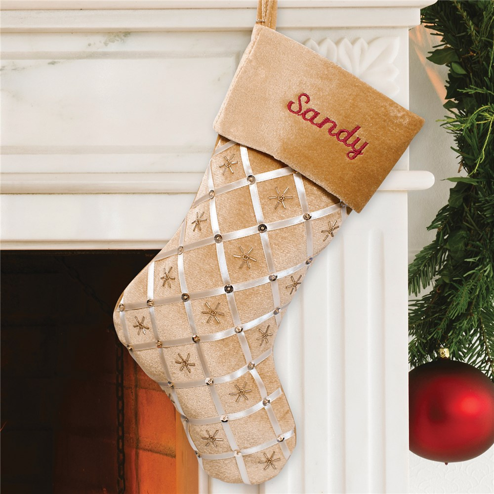 Embroidered Gold Ribbon Christmas Stocking S57179
