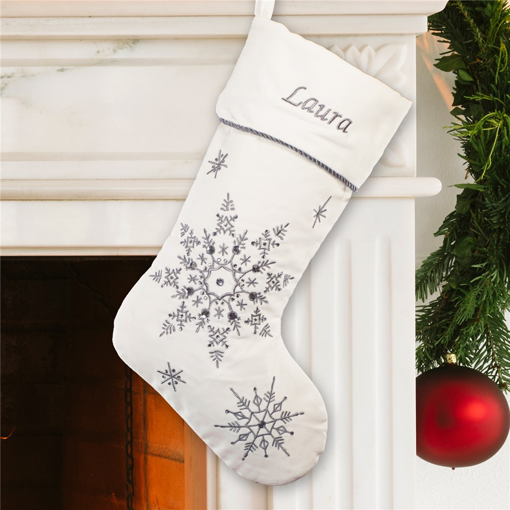 Embroidered Silver Snowflakes Velvet Christmas Stocking | Embroidered Christmas Stockings