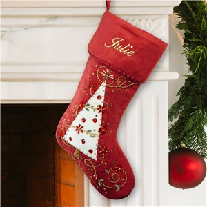 Embroidered Burgundy Christmas Tree Stocking | Personalized Christmas Stockings