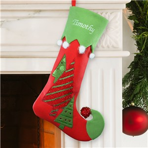 Embroidered Velvet Christmas Tree Stocking | Embroidered Christmas Stockings