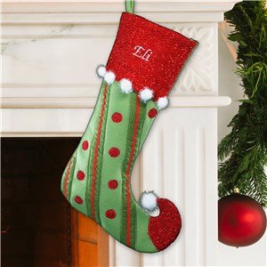 Embroidered Polka Dot and Stripes Christmas Stocking | Personalized Christmas Stockings