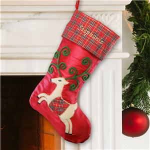 Plaid Reindeer Christmas Stocking | Embroidered Christmas Stockings