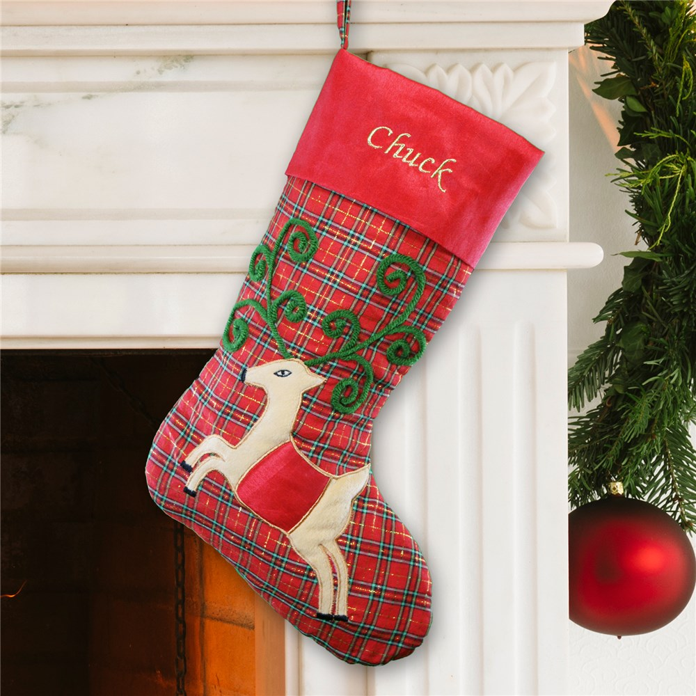 Plaid Satin Reindeer Christmas Stocking | Personalized Stockings
