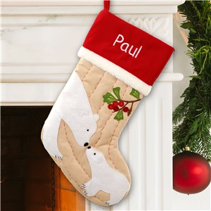 Embroidered Polar Bear Christmas Stocking S74959