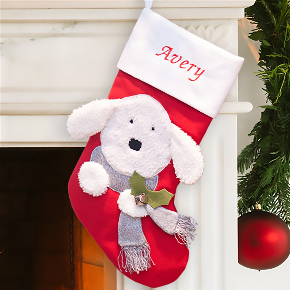 Embroidered Classic Santa and Deer Stocking S75019