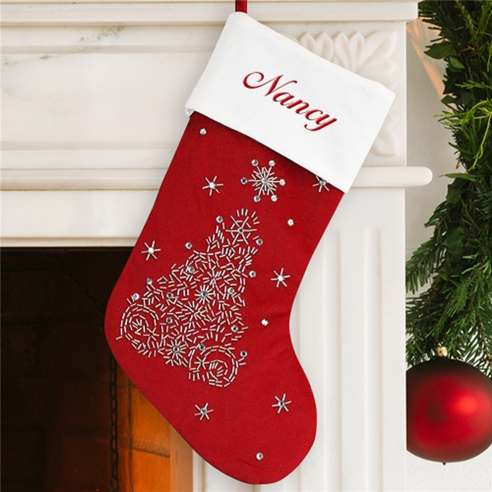 Embroidered Tree Stocking | Personalized Christmas Stockings
