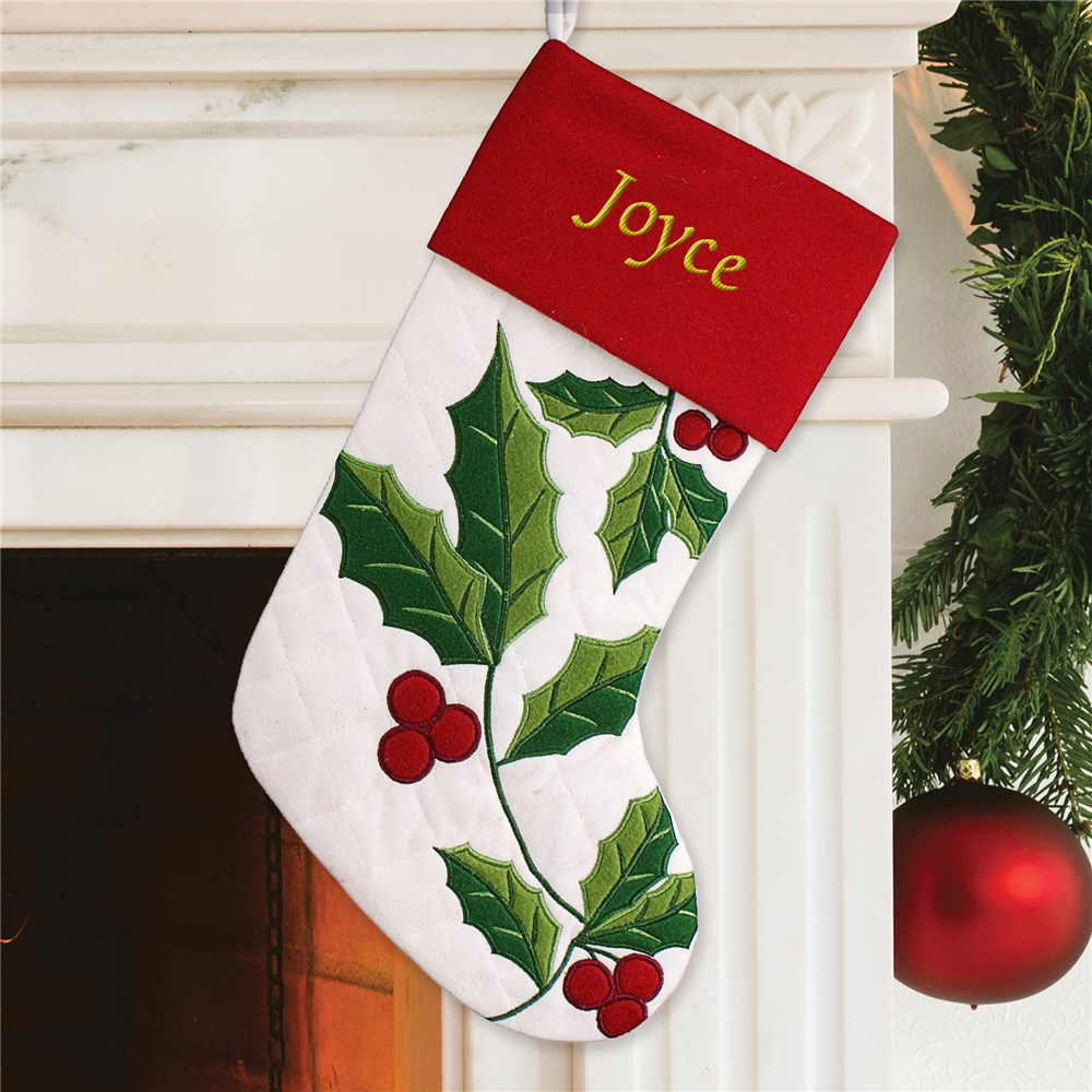 Embroidered Quilted Holly Stocking | Unique Christmas Stocking
