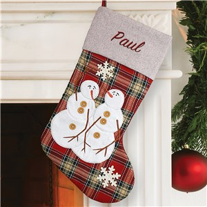 Embroidered Snowman Plaid Stocking | Personalized Christmas Stockings