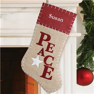 Embroidered Peace Burlap Stocking | Personalized Christmas Stockings