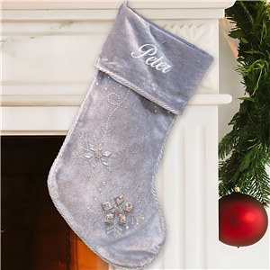 Personalized Jeweled Gray Christmas Stocking | Embroidered Stockings