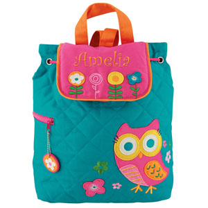Quilted Owl Embroidered Backpack